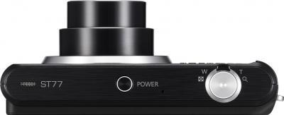 Компактный фотоаппарат Samsung ST77 (EC-ST77ZZBPBRU) Black - вид сверху