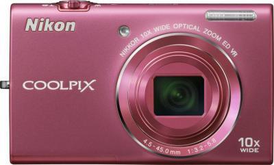 Компактный фотоаппарат Nikon Coolpix S6200 Pink - вид спереди