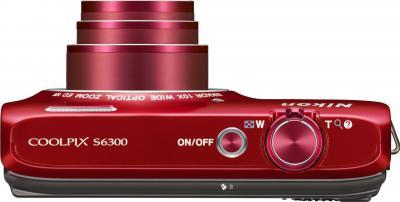 Компактный фотоаппарат Nikon Coolpix S6300 (Red) - вид сверху