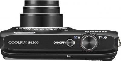 Компактный фотоаппарат Nikon Coolpix S6300 (Black) - вид сверху