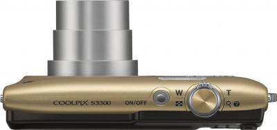 Компактный фотоаппарат Nikon Coolpix S3300 Gold - вид сверху