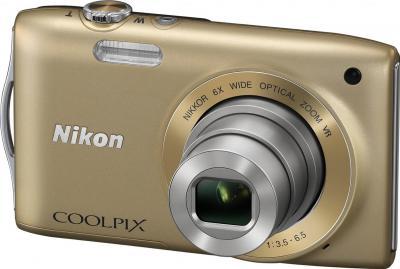 Компактный фотоаппарат Nikon Coolpix S3300 Gold - общий вид