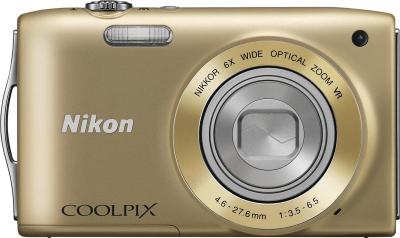 Компактный фотоаппарат Nikon Coolpix S3300 Gold - вид спереди