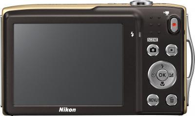 Компактный фотоаппарат Nikon Coolpix S3300 Gold - вид сзади