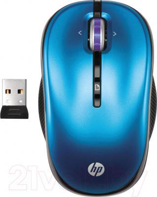 Мышь HP XP358AA (сине-черный) - общий вид с USB-приемником