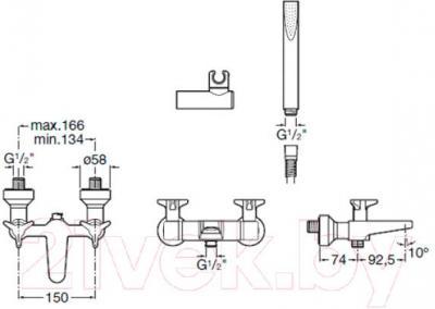 Смеситель Roca Betap 5A0144C00 - технический чертеж