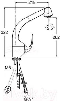 Смеситель Roca M2 A5A8168C00  - технический чертеж