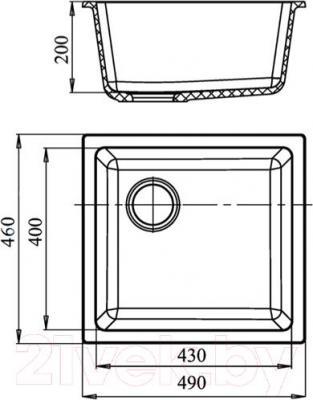 Мойка кухонная GranFest GF-4540 (черный) - схема