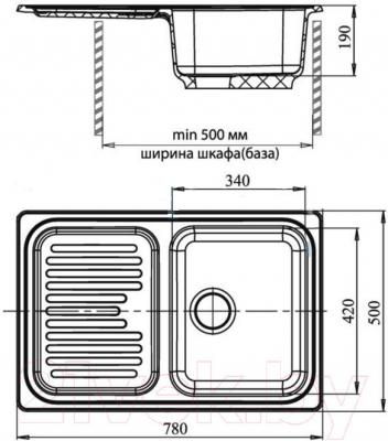 Мойка кухонная GranFest Standart GF-S780L (бежевый)