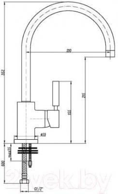Смеситель GranFest 3023 (сатин) - технический чертеж