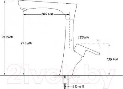 Смеситель GranFest 3923 (хром) - технический чертеж
