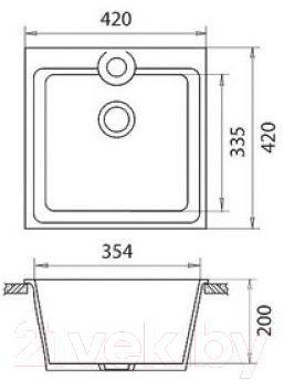 Мойка кухонная Эко-М M-42 (белый)