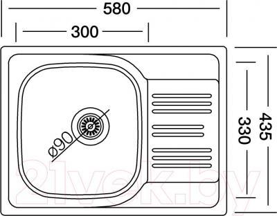 Мойка кухонная Kromevye EC 147 - схема