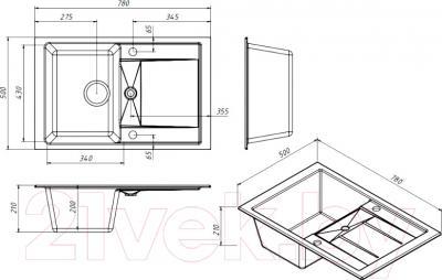 Мойка кухонная Belux KLG-8050