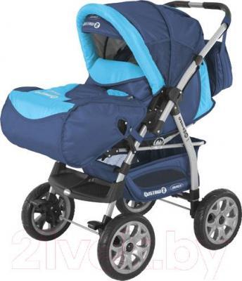 Детская универсальная коляска Adamex Gustaw 2 (темно-синий/голубой) - общий вид