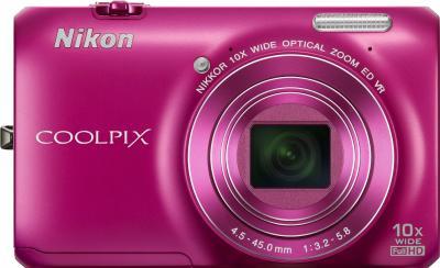 Компактный фотоаппарат Nikon Coolpix S6300 (Pink) - вид спереди