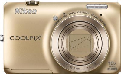 Компактный фотоаппарат Nikon Coolpix S6300 (Gold) - вид спереди