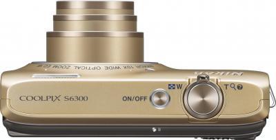 Компактный фотоаппарат Nikon Coolpix S6300 (Gold) - вид сверху