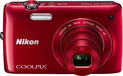 Компактный фотоаппарат Nikon Coolpix S4300 Red - вид спереди