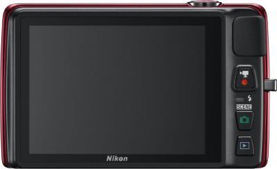 Компактный фотоаппарат Nikon Coolpix S4300 Red - вид сзади