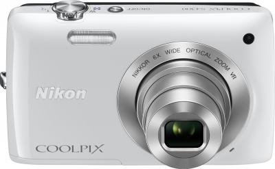 Компактный фотоаппарат Nikon Coolpix S4300 White - вид спереди