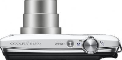 Компактный фотоаппарат Nikon Coolpix S4300 White - вид сверху