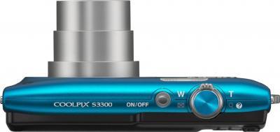 Компактный фотоаппарат Nikon Coolpix S3300 Blue - вид сверху
