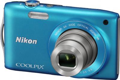 Компактный фотоаппарат Nikon Coolpix S3300 Blue - общий вид