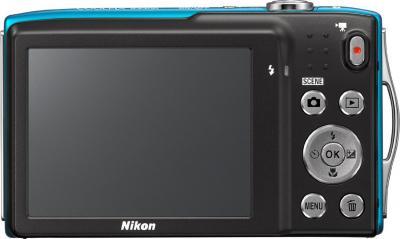 Компактный фотоаппарат Nikon Coolpix S3300 Blue - вид сзади