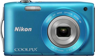Компактный фотоаппарат Nikon Coolpix S3300 Blue - вид спереди