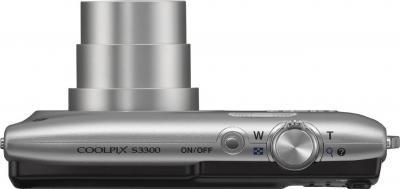 Компактный фотоаппарат Nikon Coolpix S3300 (Silver) - вид сверху
