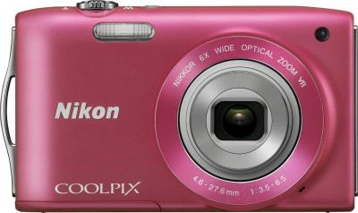 Компактный фотоаппарат Nikon Coolpix S3300 Pink - вид спереди