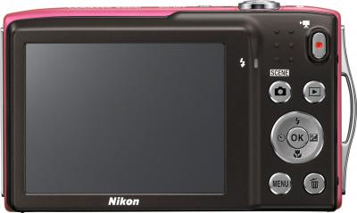 Компактный фотоаппарат Nikon Coolpix S3300 Pink - вид сзади