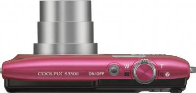 Компактный фотоаппарат Nikon Coolpix S3300 Pink - вид сверху