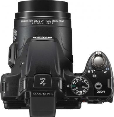 Компактный фотоаппарат Nikon Coolpix P510 Black - Вид сверху