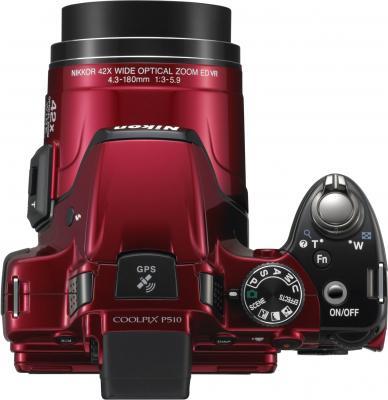 Компактный фотоаппарат Nikon COOLPIX P510 Red - вид сверху