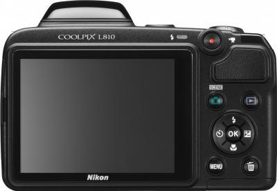 Компактный фотоаппарат Nikon Coolpix L810 (Black) - вид сзади