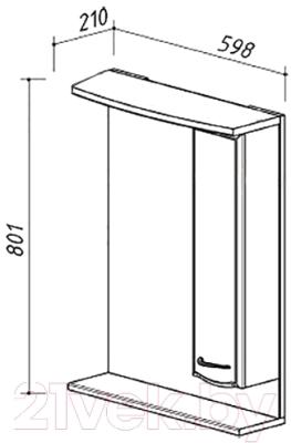 Шкаф с зеркалом для ванной Belux Классик В60Ш