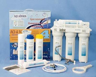 Фильтр питьевой воды АкваОсмос АО 4 М PP 5 + GAC-KDF + ИОС + Т 33 - комплектация