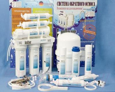 Фильтр питьевой воды АкваОсмос АО RO 6 PP 5 + GAC + PP 1 + RO + T 33 + M - комплектация
