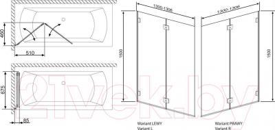 Стеклянная шторка для ванны Radaway Carena PND/R (202201-101R)