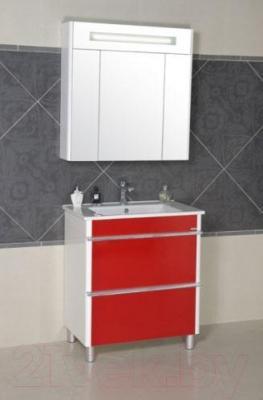 Тумба с умывальником Аква Родос Париж 75 (красный) - в интерьере