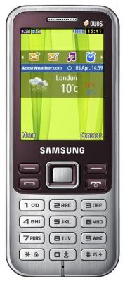 Мобильный телефон Samsung C3322 Dual (красный) - вид спереди