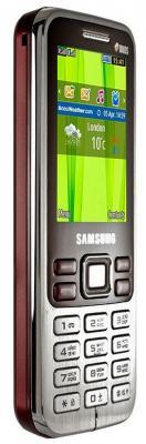 Мобильный телефон Samsung C3322 Dual (красный) - вид сбоку