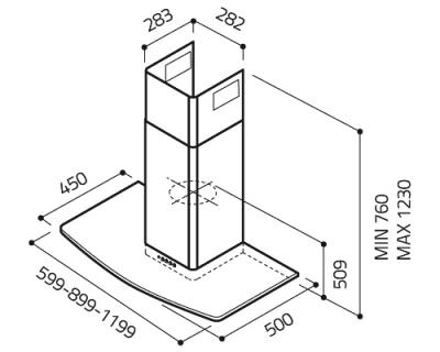 Вытяжка Т-образная Elica T-GLASS IX/VETRO A/90 - схема