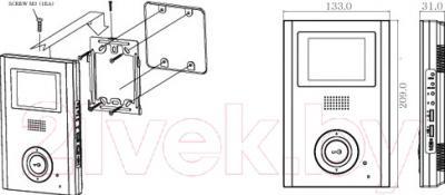 Видеодомофон Commax CDV-35H GR White - установка видеодомофона CDV-71AM и его размеры