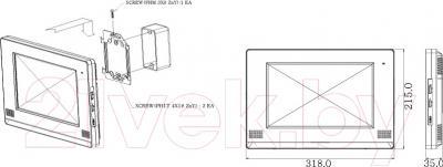 Видеодомофон Commax CDV-1020AQ (белый) - установка видеодомофона CDV-71AM и его размеры