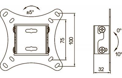 Кронштейн для телевизора Kromax Vega-6 (темно-серый) - габаритные размеры