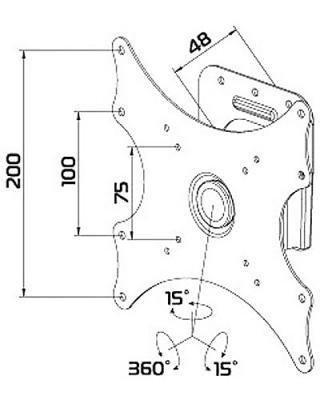 Кронштейн для телевизора Tuarex ALTA-1004 - габаритные размеры