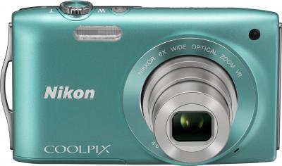 Компактный фотоаппарат Nikon Coolpix S3300 Green - вид спереди